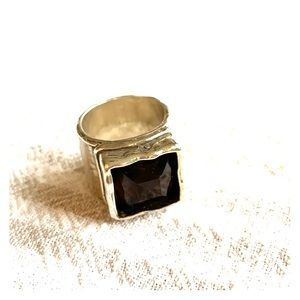 R1453 Retired Silpada Smoky Quartz Ring Size 7